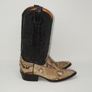 MENS VINTAGE TEAM WEST SNAKE SKIN COWBOY BOOTS